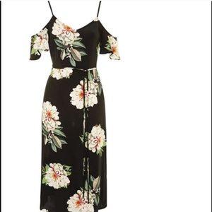 Black floral cold shoulder midi dress Top Shop